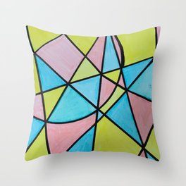 Pastel Triangles and Circle Color Blocks Throw Pillow