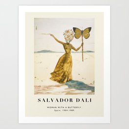 Vintage poster-Salvador Dali-Woman with a butterfly.  Art Print