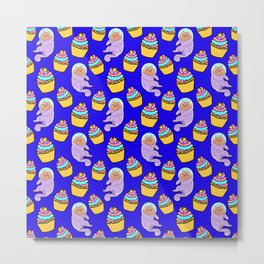 Cute sweet adorable Kawaii cats, funny colorful yummy cupcakes midnight blue pattern design. Space suits and astronauts. Metal Print