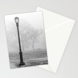 Lamp Post in the fog Stationery Cards