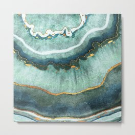 Gold Turquoise Agate Metal Print