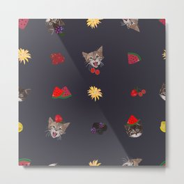 Cute Cats and Fruity Pattern Metal Print