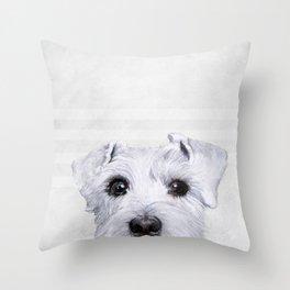 Schnauzer original Dog original painting print Throw Pillow