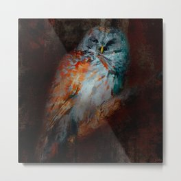 Abstract Barred Owl Metal Print