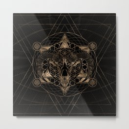 Ram in Sacred Geometry Composition - Black and Gold Metal Print