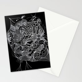 Black and White Lines Art Deco Stationery Cards