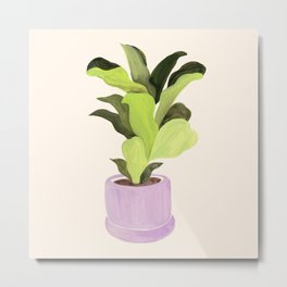 Fiddle leaf fig gouache painting Metal Print