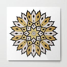gold and silver flower mandala Metal Print