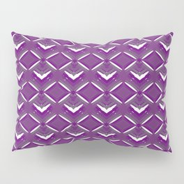 Purple diamonds of white stars with hearts in a bright intersection. Pillow Sham