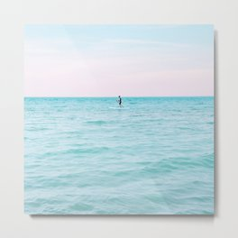 Surfing in Paradise | Summer | Travel | Landscape | People | Nature Photography | Surfer | Waves | Sea | Ocean | Water | Blue | Pink Metal Print