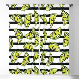 Green lemons on black and white stripes Blackout Curtain