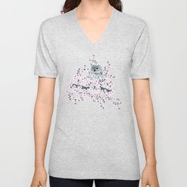 Cute Owl and Cherry Blossoms Pink Gray Unisex V-Neck