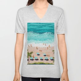 Colors Of The Sea, Nature Tropical Vacay Beach Ocean People Travel Illustration Unisex V-Neck