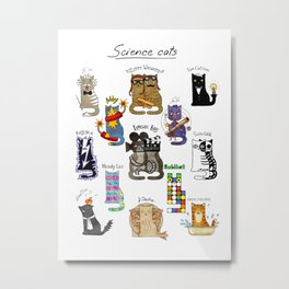 Science cats. History of great discoveries. Schrödinger cat, Einstein. Physics, chemistry etc Metal Print
