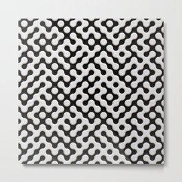 Black & White Truchet Tilling Mosaic Metal Print