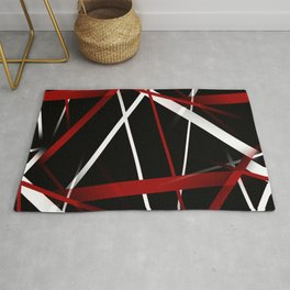 Seamless Red and White Stripes on A Black Background Rug