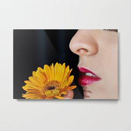 Woman With Fresh Orange Daisy Metal Print