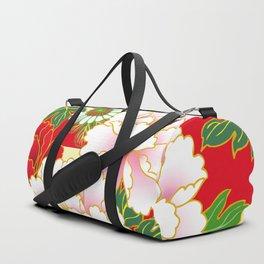 Red Pink Peony Vintage Japanese Floral Kimono Pattern Duffle Bag