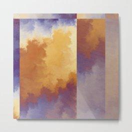 Shades of Autumn Orange And Blue Fractal Metal Print