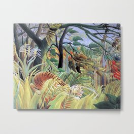 Tiger in a Tropical Storm (Surprised!) by Henri Rousseau 1891 // Jungle Rain Stormy Weather Scene Metal Print