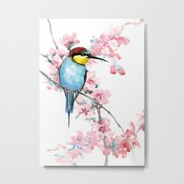 Bee-Eater and Spring Blossom, Turquoise Pink floral decor Metal Print