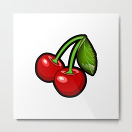 Checkered Cherries Metal Print