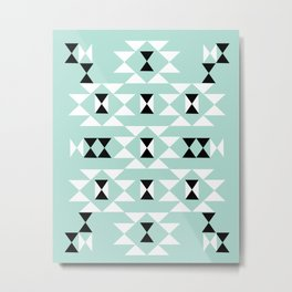 Kai - Modern pattern design in mint native themed pattern navajo print textile cute trendy gifts Metal Print