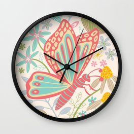 BUTTERFLY LANDING Wall Clock