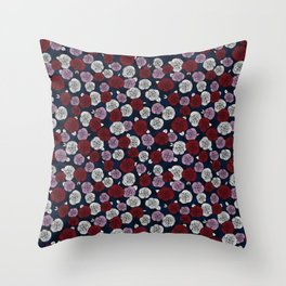 Roses in navy blue, orchid and burgundy red Throw Pillow