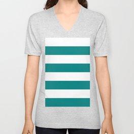 Wide Horizontal Stripes - White and Dark Cyan Unisex V-Neck