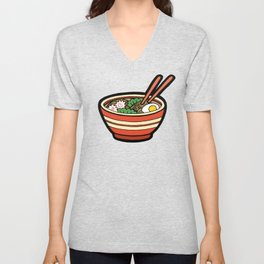 Ramen Bowl Pattern in Orange Unisex V-Neck