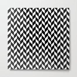Black Herringbone - Baby Stimulation Pattern Metal Print