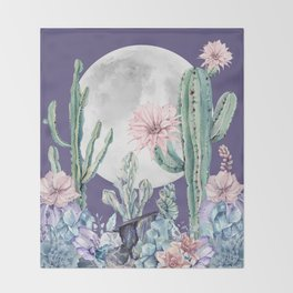 Desert Cactus Full Moon Succulent Garden on Purple Throw Blanket