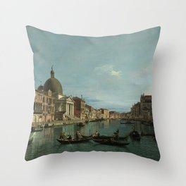 A View of the Grand Canal by Canaletto Throw Pillow