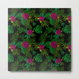 Exotic tropical jungle palm and orchid pattern Metal Print