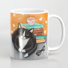 Tuxedo Cat Tea and Books Coffee Mug