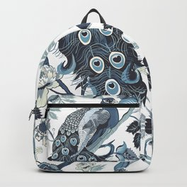 Blue Chinoiserie, peacocks, blue and white, chintz pattern Backpack