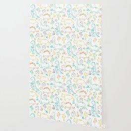 Colorful dinosaur pattern on white Wallpaper
