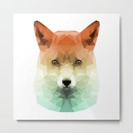 Polygon Fox | Orange & Teal Abstract Triangle Artwork Metal Print