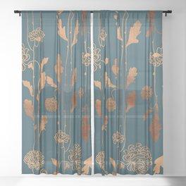 Art Deco Copper Flowers  Sheer Curtain