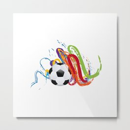 Soccer Ball with Brush Strokes Metal Print
