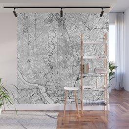 Washington D.C. White Map Wall Mural