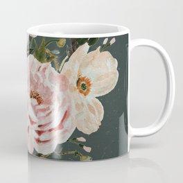 Loose Peonies and Poppies on Vintage Green Coffee Mug