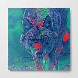 AnimalBlue_Wolf_001_by_JAMColors Metal Print