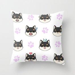 Chibi Shiba's black & tan Throw Pillow