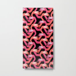 Woven flamingoes Metal Print