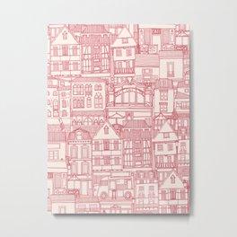 cafe buildings pink Metal Print