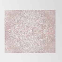Mandala Yoga Love, Blush Pink Floral Throw Blanket