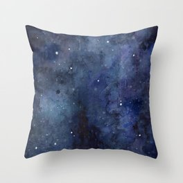 Galaxy Nebula Watercolor Night Sky Stars Outer Space Blue Texture Throw Pillow