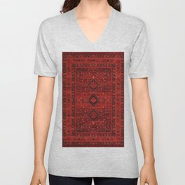 Red Traditional Oriental Moroccan & Ottoman Style Artwork. Unisex V-Neck